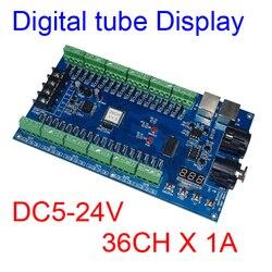 DC5V-24V 36CH RGB DMX512 decodificador LED DMX XRL 3P controlador 36 canales 12 grupos RGB salida máxima 36A para luz LED para lámpara de tira LED