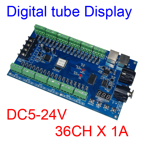 best price 1 pcs DC5V-24V 36 channel 12groups dmx512 decoder led controller 24ch 24channel easy dmx512 dmx decoder led dimmer controller dc5v 24v each channel max 3a 8 groups rgb controller iron case