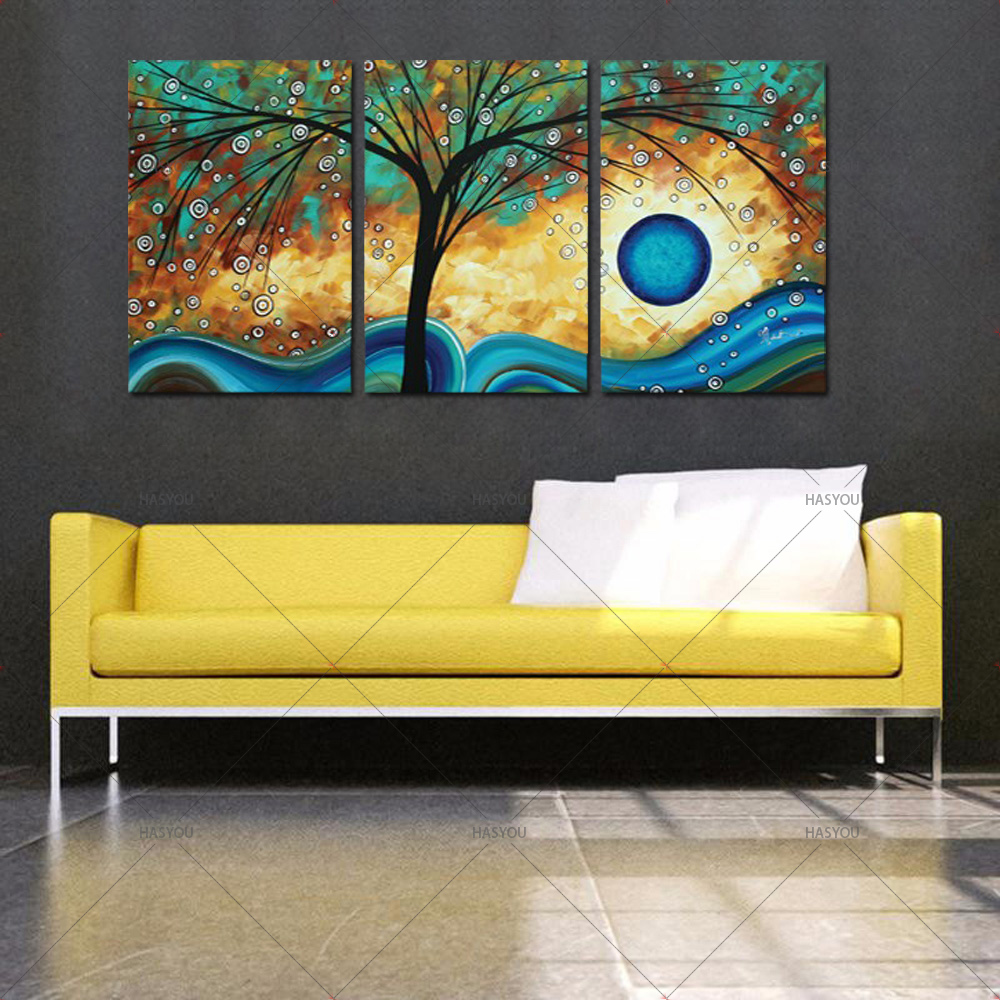 Abstract Tree Creativity Blue Sunset 3Panel Oil Painting on Canvas Wall Art for Living Room Sofa