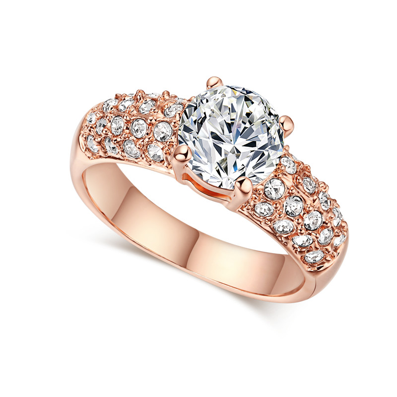 Vintage Anillos Rose Gold 585 Plated CZ Diamond Fashion Jewelry Rings For Women Engagement Wedding Ring Bague Bijoux Aros QK003