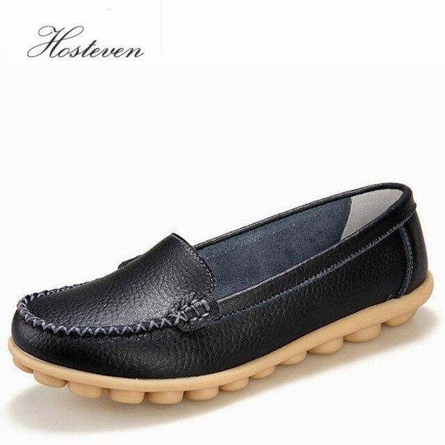 Hosteven zapatos de mujer de cuero genuino zapatillas Casual mujer mocasines deslizamiento en la mujer zapatos planos mocasines de tacón bajo calzado