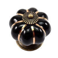 12Pcs Pumpkin Zinc Ceramic Door Knobs Drawer Pull Handle Kitchen Cabinet Cupboard Wardrobe Black