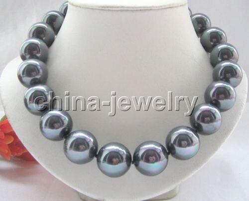 """LIVRAISON GRATUITE vente CHAUDE nouveau Style>>>> 18 """"20mm noir brillant du sud sea shell collier de perles"""