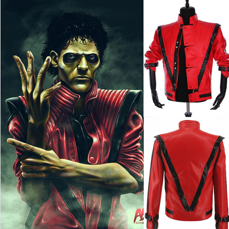 e5a24b262 US $62.99 30% OFF Rare Classic MJ MICHAEL JACKSON Thriller Night Red  Leather Jacket For Fans Best Halloween Costume Christmas Gift in 1980s-in  Jackets ...