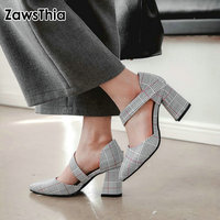 ZawsThia plaid checked houndstooth pattern block high heels for woman buckle strap mary janes shoes women pumps size 44 45 46