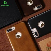 FLOVEME Retro Genuine Leather For IPhone 7 6 6s Plus Case With Metal Logo Holes Protective