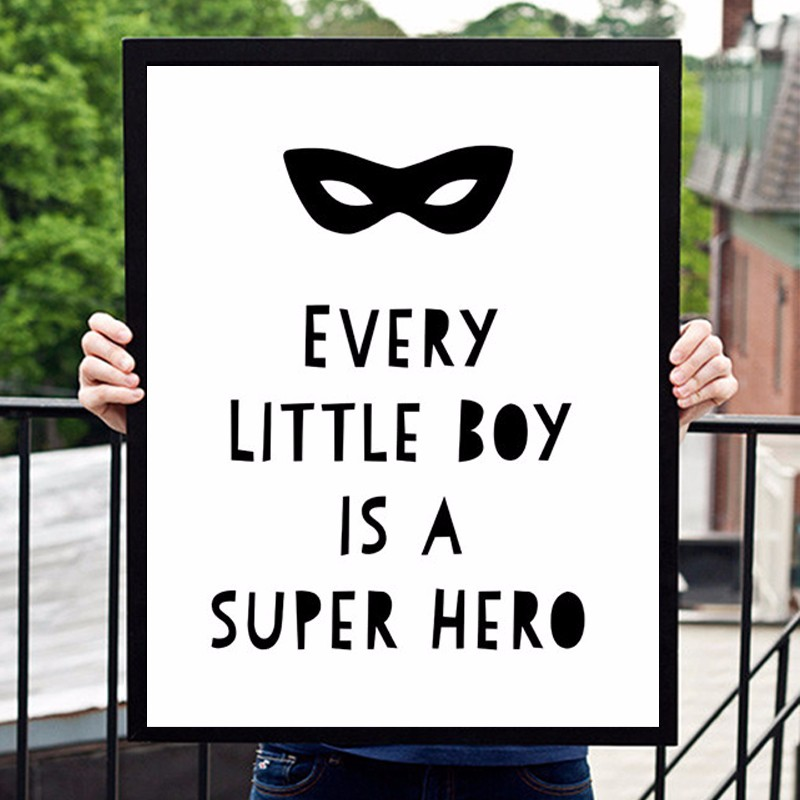 HOT Modern Boy Is A Super Hero Print Poster, Canvas Art