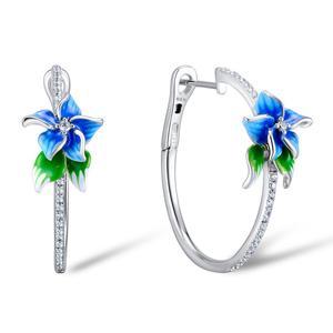 Image 2 - SANTUZZA Silver Earrings For Women 925 Sterling Silver Blue Flower Hoop Earrings Silver Cubic Zirconia brincos Jewelry Enamel