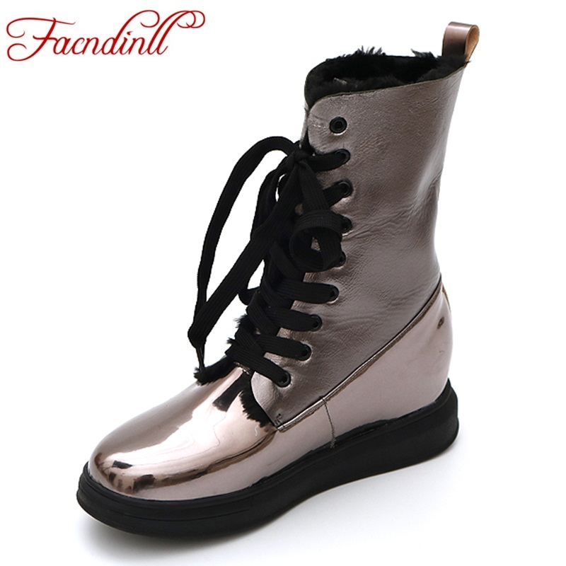 FACNDINLL new fashion women ankle boots shoes high quality wedges heels round toe platform shoes woman winter snow casual boots fringe wedges thick heels bow knot casual shoes new arrival round toe fashion high heels boots 20170119