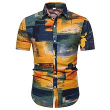 Hawaiian Shirt Male Short sleeve Casual for Men Fashion Stripe Blouse Summer New