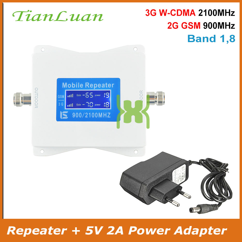 TianLuan Mini Cell Phone Signal Repeater GSM 900MHz W-CDMA 2100MHz 2G 3G Booster Amplifier With Power Adapter Band 1, 8