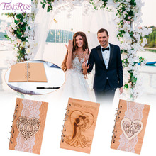 FENGRISE Wooden  Notebook Wedding Signature Guest Book Rustic Decoration Gifts Party Decor Favor