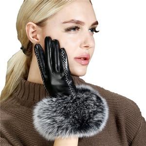 Image 4 - Lady Luxury Fox Fur Sheepskin Gloves Winter Genuine Leather Full Finger Thermal Warm Outdoor Gloves Women Touch Screen Black