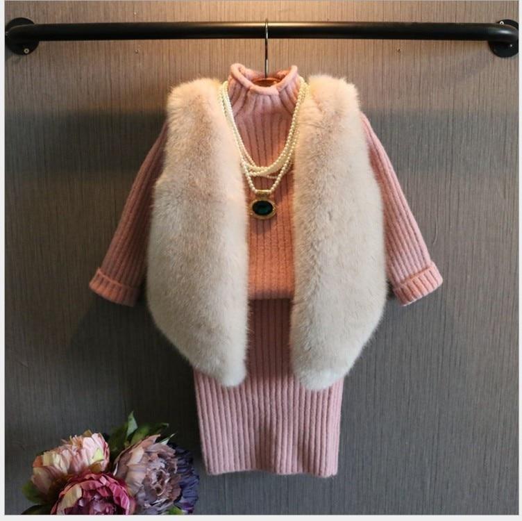 Cute! Little Girls Fur Vest Soft Faux FOX Fur Clothes Girls Fur Coat Rufflty Toddler Outwear Girls Fashion Fur Vest for Winter