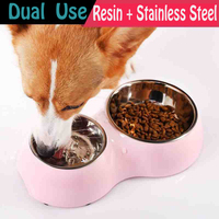 Convenient Dogs Bowls General Stainless Steel Pet Water Dispenser Comedouro Para Cachorro Cats Plate Pets Tool Dispenser 50Z0701
