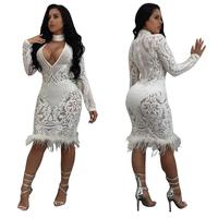 Adogirl V neck Long Sleeve Spring Autumn Bodycon Night Club Dresses Sexy Women Fashion Sheath Dress Vestidos De Renda