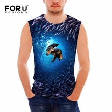 FORUDESIGNS Bodybuilding Slime Casual Men Tank Top Vest Fashion 3D Sea Animal Summer Sleeveless Fitness Shirt For Adult Singlets