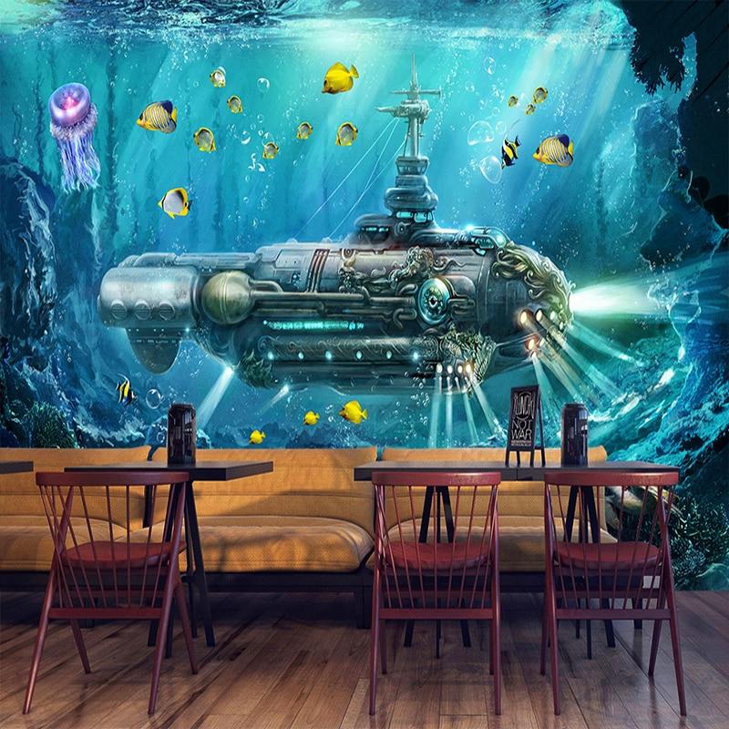 Custom 3D Photo Wallpaper Submarine Underwater World Wall Decor Mural Living Room Bedroom Children Room 3D Wall Murals Wallpaper free shipping 3d underwater world marine animals wallpaper children s room living room bedroom cafe wallpaper mural