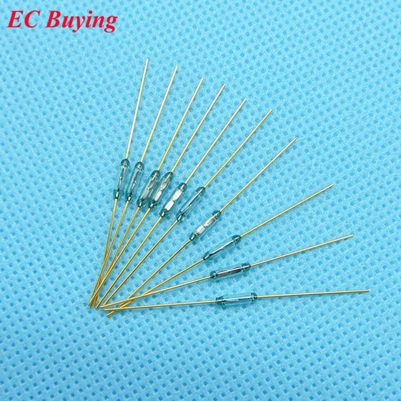10pcs Reed Switch 1.8 *7mm Magnetic Control Switch Green Glass Reed Switches Glass Normally Open Contact For Sensors NO