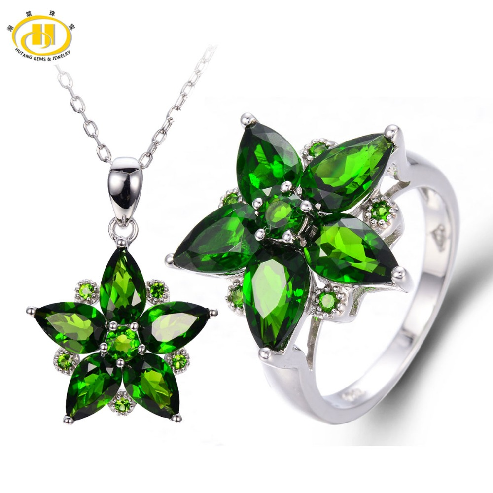 Hutang Natural Chrome Diopside Solid 925 Sterling Silver Bridal Jewelry Sets Rings & Pendant Womens Gemstone Jewelry GiftHutang Natural Chrome Diopside Solid 925 Sterling Silver Bridal Jewelry Sets Rings & Pendant Womens Gemstone Jewelry Gift
