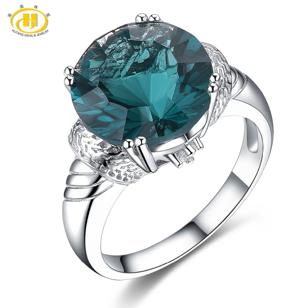 Hutang 12mm Natural Colorful Fluorite Rings 925 Silver Gemstone Wedding Ring Fine Jewelry Classic Design for Women Best Gift NewHutang 12mm Natural Colorful Fluorite Rings 925 Silver Gemstone Wedding Ring Fine Jewelry Classic Design for Women Best Gift New