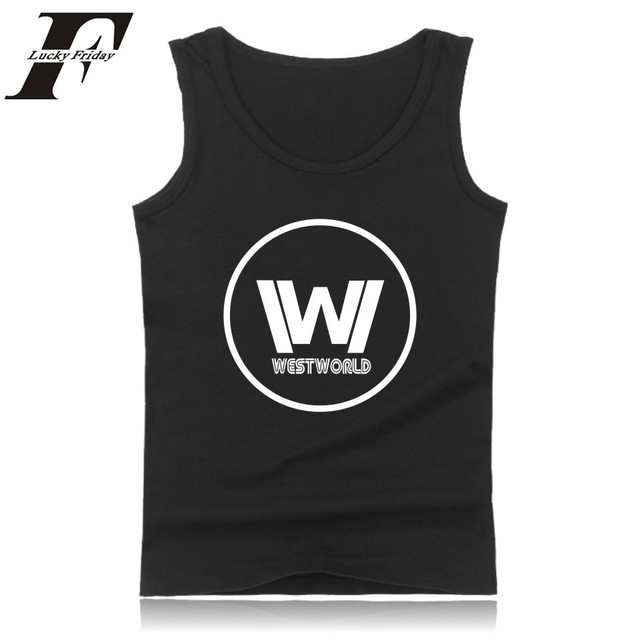 db45b97c342c9 US $2.21 30% OFF|Westworld Sleeveless Tank Top Summer Men Bodybuilding And  Plus Size Cotton Exercise Workout Tank Tops West World Logo Clothes-in Tank  ...