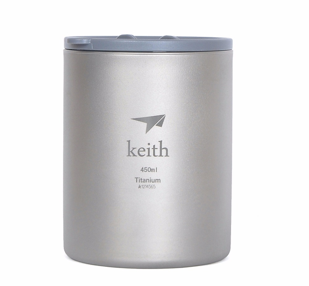 Keith Ti3340 Titanium Cup Mug Double-wall Vacuum Water Cup Outdoor Picnic Cookware 450ml Ti82 keith double wall titanium beer mugs insulation drinkware outdoor camping coffee cups ultralight travel mug 320ml 98g ti9221
