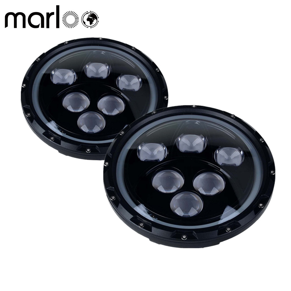 Marloo Pair 7 inch 60W Round Headlight For Jeep Wrangler JK TJ LJ Sahara Rubicon Sport Unlimited with Angel Eyes White DRL Light lantsun j039 black grab bar front rear grab handle for jeep wrangler jk sahara sport rubicon x