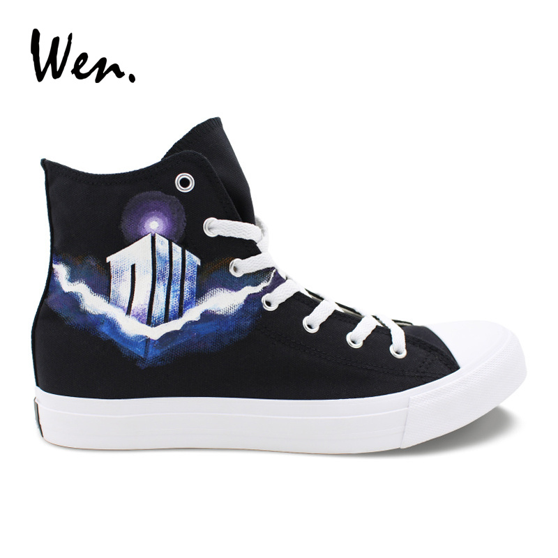 Wen Custom Design Hand Painted Shoes Dw Police Box Keep Calm And Dont Blink Women Top Canvas Shoes Sneakers Men High Plimsolls Fixing Prices According To Quality Of Products Men's Shoes Men's Vulcanize Shoes
