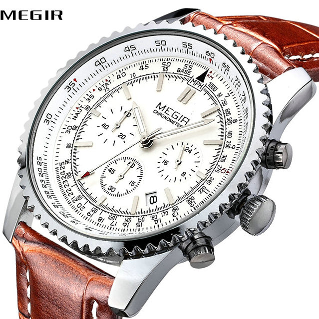 MEGIR Fashion Men Quartz Watches 2018 Top Brand Luxury Leather Business Wristwatches Luminous Calendar Dial Chronograph Clock все цены