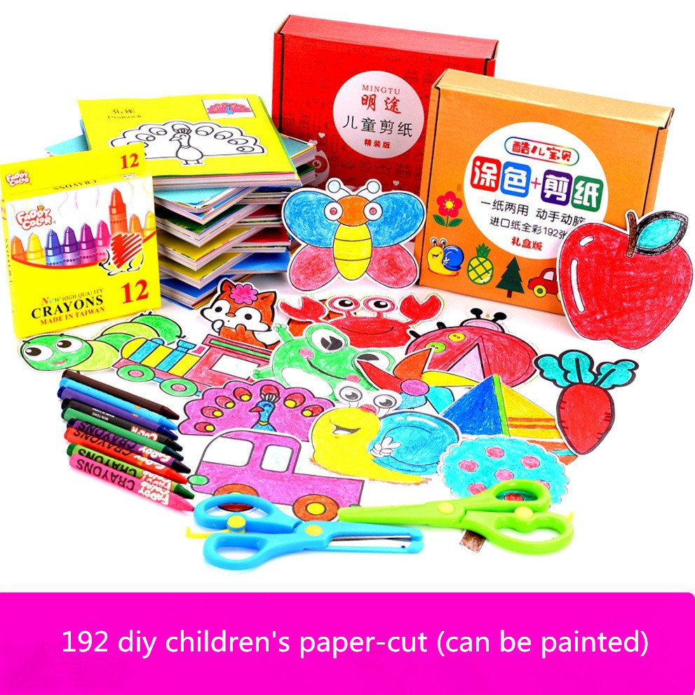192pcs/manualidades Dset Kids Cartoon Color Paper Folding And Cutting Toys/children Kingergarden Art Craft DIY Educational Toys
