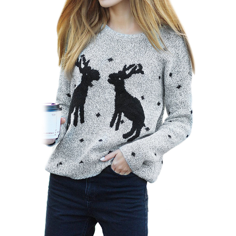 2018 New Fashion Women Warm Sweaters Western Christmas Reindeer Snow Deer Embroidery Pullover Long Sleeve Loose Knit Pullover