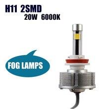 Caminhões H11 LED Fog Lâmpadas Luzes Externas Fácil de Instalar Venda Fábrica Mais Brilhante 6000 K 2400LM H11 2SMD Lâmpadas brancas Carro
