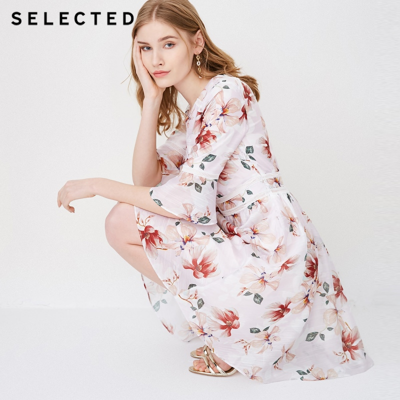 SELECTED new women s chiffon printing V neck business casual dress S 41822J520