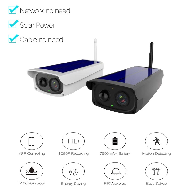 Full HD 1080P Solar Power IP camera wireless 2MP Waterproof Outdoor WIFI Security solar panel CCTV