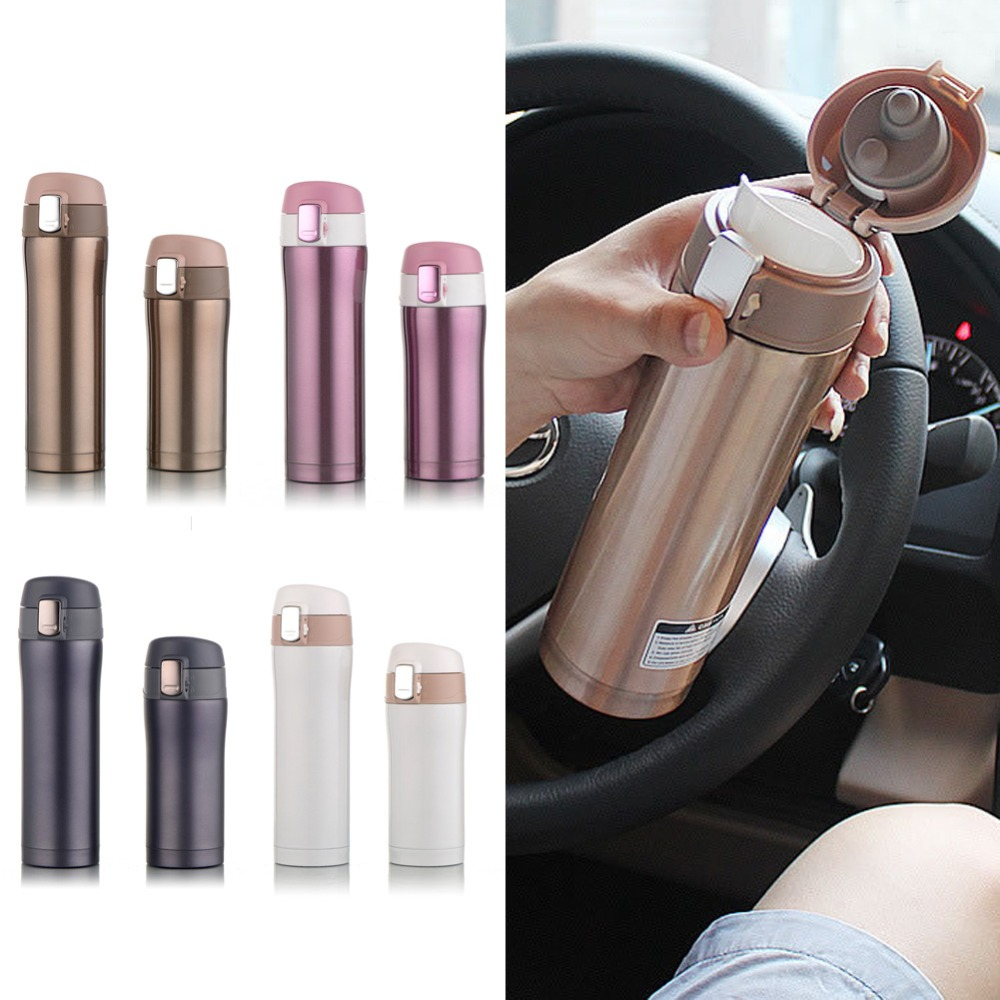 Colleer 350ml/500ml Stainless Steel Thermos Cup Travel Insulated Thermal Mug Vacuum Flask Office Car Coffee Tea Water Bottle Cup