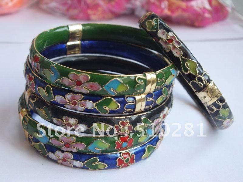 Free Shipping!! 36piece/lot 3color Cloisonne Cuff Bangle Cuff Bracelets red Blue Black 3 Color With Flower Design