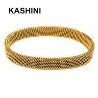 Casual Charm Flexible Elastic Bracelets Women Stainless Steel Round Rose Gold Elastic Bracelet Bangles Gift Wholesale Jewelry