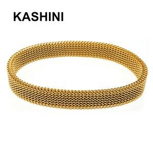 Image 4 - Frauen Runde Rose Gold Elastische armband Casual Charme Flexible Edelstahl Schmuck Armband armreifen geschenk großhandel Großhandel