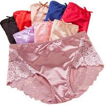 aec12041818 New Arrival silk satin Underwear Women briefs Seamless Panties Mid Waist Lace  Lingerie transparent panties Rose