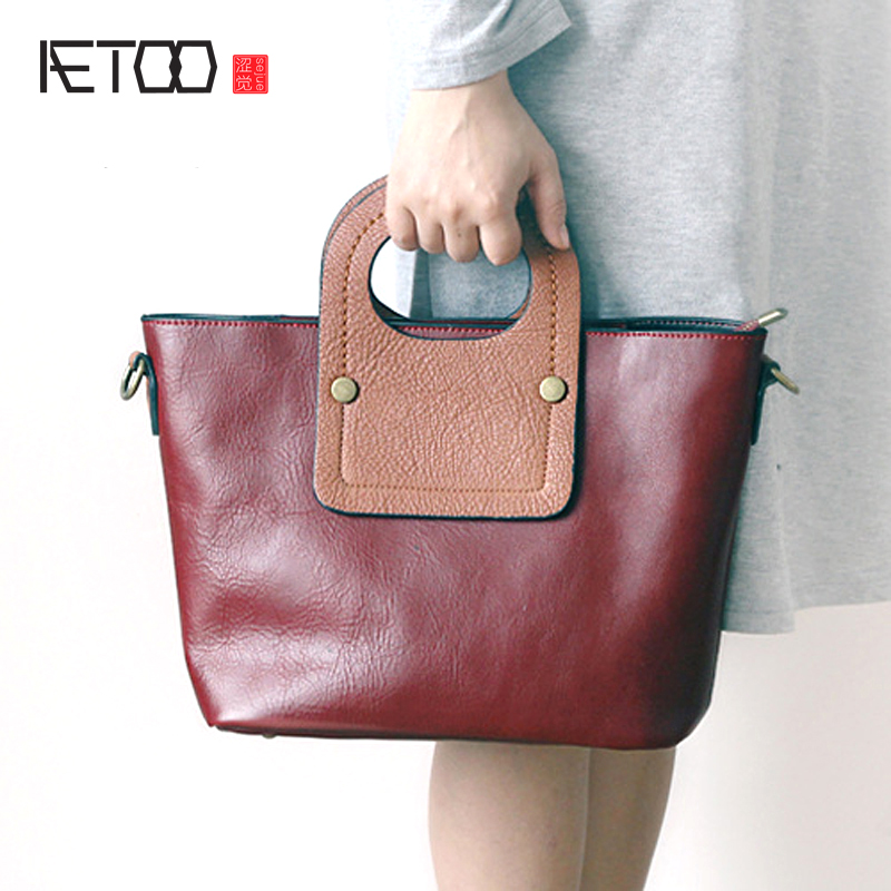 AETOO New leather handbag shoulder bag female first layer of leather dumplings package Korean simple personality fight color han aetoo first layer of leather shoulder bag female bag korean version of the school wind simple wild casual elephant pattern durab