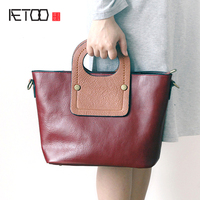 AETOO New leather handbag shoulder bag female first layer of leather dumplings package Korean simple personality fight color han