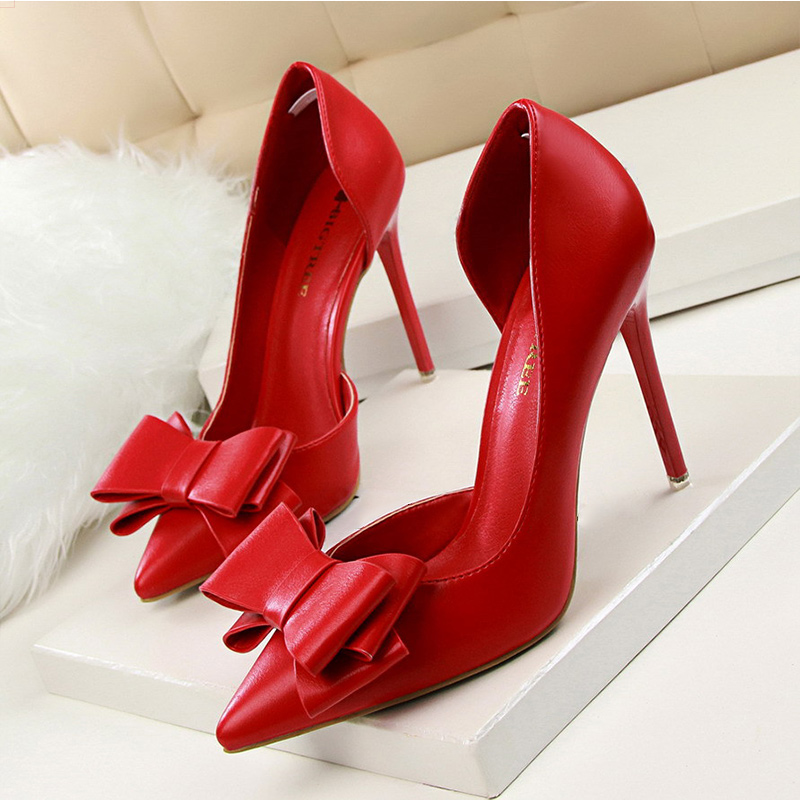 Women Pumps Fashion High Heels Femals Shoes Pumps Hollow Pointed Toes Women Heels Shoes Sweet Pink Red Stiletto 10.5cm 3168-2 new fashion delicate sweet bowknot high heel shoes side hollow pointed women pumps