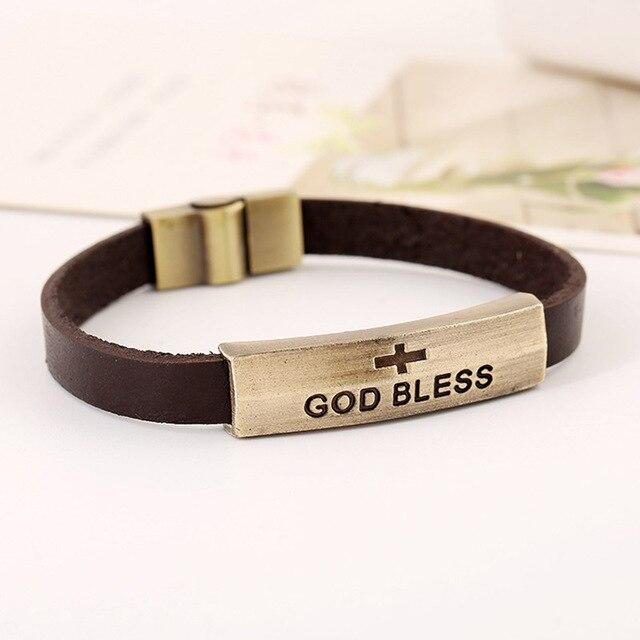 Vintage Biker Bracelet Leather Gold Tone Magnetic Clasp Religious Cross Charms Men S Bracelets