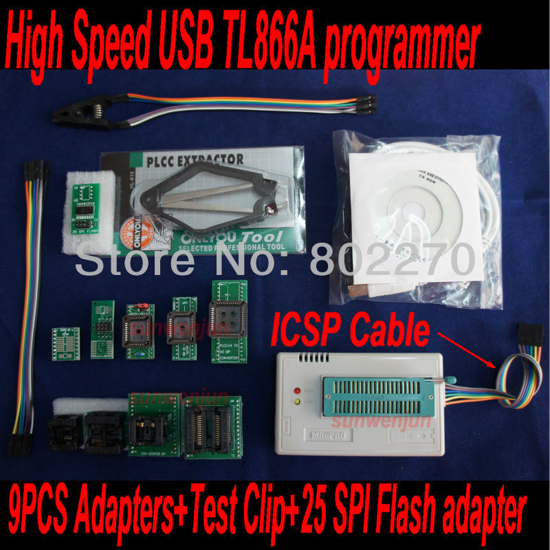 USB Programmer EPROM SPI FLASH AVR GAL PIC TL866A ICSP in-circuit programming+9pcs adapters+test clip+25 SPI Flash adapter vs4800 usb universal programmer for bios gal eprom flash 51 avr pic mcu spi with 48pin zif socket support 15000 ic 4 adapters