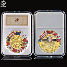 WWII Arromanches Normandie War 6/6/1944 D-Day 70th Anniversary Souvenir Gold Military Challenge Coin W/ PCCB Holder wwii british infantry d day 50th northumbrian infantry gold beach military challenge coin w capsule holder