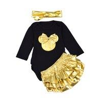 3 stks Baby Meisje Kleding Sets Zwart Katoen Rompertjes Golden Ruche Bloeiers Pasgeboren Zuigeling Kleding set Hoofdband Lange mouwen