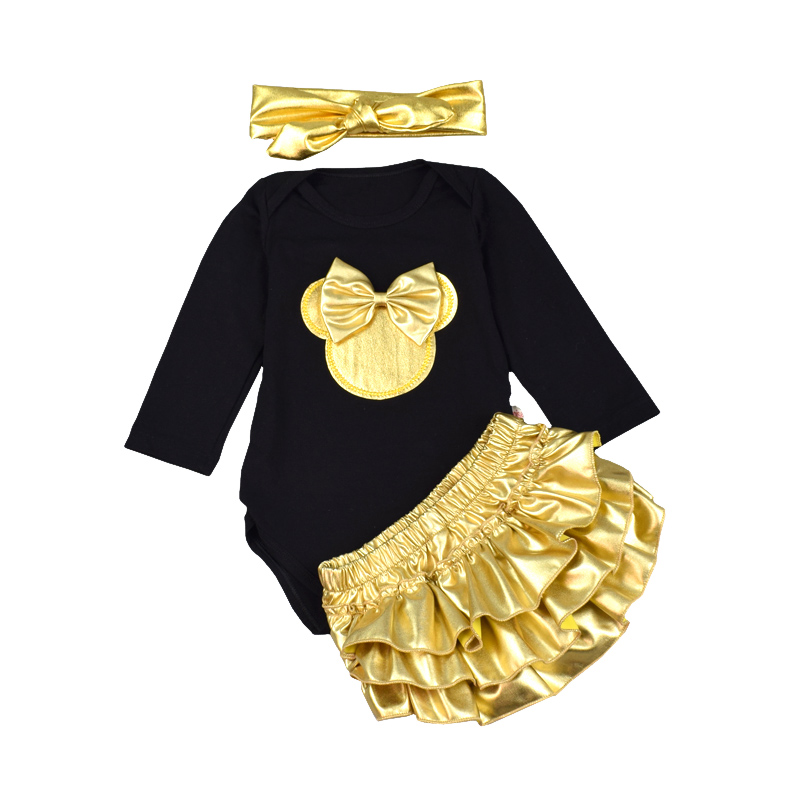 3pcs Baby Girl Clothes Sets Black Cotton Rompers Golden Ruffle Bloomers  Newborn Infant Clothing set Headband Long sleeves fashion baby christmas tutu dress rompers short sleeve romper headband baby girl infant clothing sets baby birthday costumes