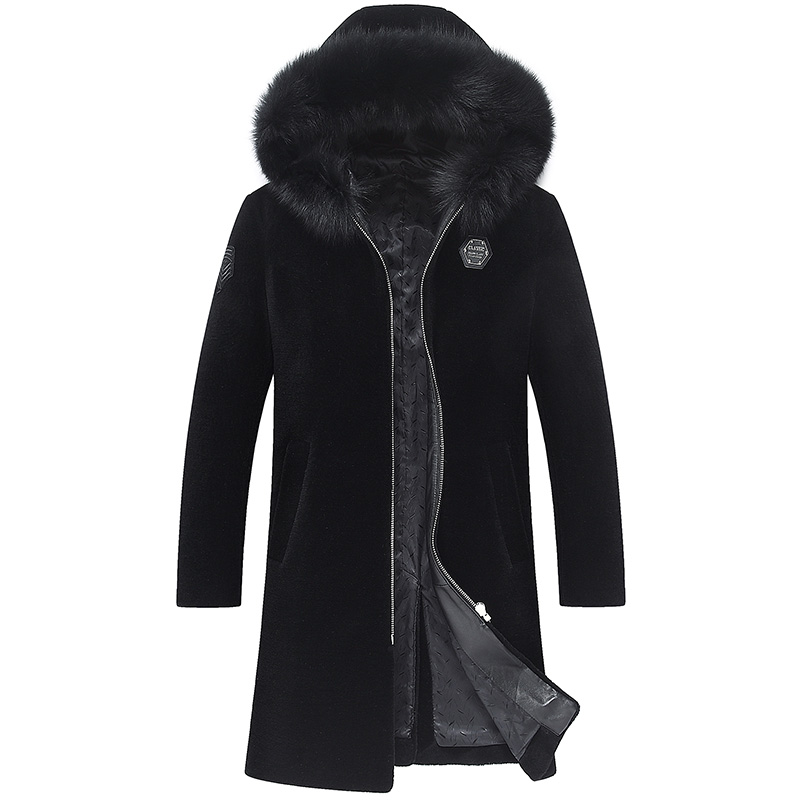 d 39 hiver manteau fox col mouton la fourrure chaud vestes. Black Bedroom Furniture Sets. Home Design Ideas