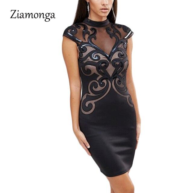 Ziamonga плюс Размеры S-XXL сетки лоскутное Bodycon платье сексуальное платье Черный блесток Платья для женщин партии Винтаж печатных повязки